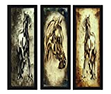 PRINTELLIGENT Beautiful Horses 3 Split Framed Painting For Living Room Best Collection , (Wood, 15 Cm X 3 Cm X 38 Cm, Set Of 3)