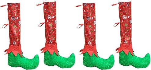 BESTOYARD Weihnachten Tisch Stuhl Beinabdeckungen Elf Elfen Füße Schuhe Beine Partydekorationen Neuheit Weihnachten Tischdekoration 4 STÜCKE