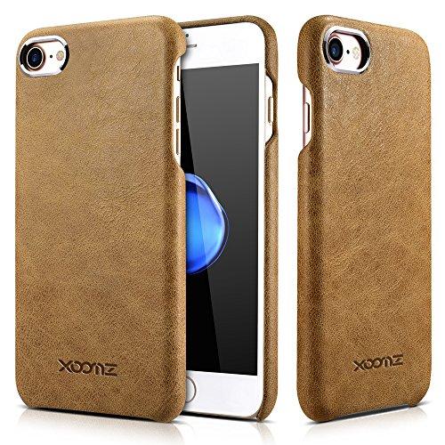 iPhone 7/8 Ledertasche Hülle, XOOMZ Echt Leder Vintage Tasche Slim und Lightweight Luxus Echtleder Backcover Handytasche Leder Hülle Case für iPhone 7 iPhone 8 4,7 Zoll (Beige Braun) -