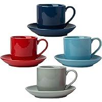 Set de 4 Tasses à Expresso avec soucoupes Assorties - Porcelaine Blanche de première qualité, Coffret Cadeau 8 pièces…