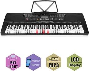 Poncherish3IT Tastiera Elettronica Portatile Organo pianoforte digitale multifunzione con attrezzatura musicale a staffa per microfono