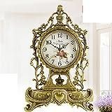 Europeo antiguo reloj grande/Silencioso reloj de bronce/sala de estar mesa de reloj/reloj de latón/Ornamentos de Villa-A