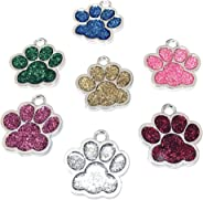 PRETYZOOM 6PCS Pet ID Tags Glitter Paw Shape Dog Tags Alloy Metal Cat Tag Pet Hanging Charm Pendant Pet Puppy Kitten Gift Mi