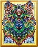HOHOME Diamant Spezial-Geformte Teilweise-Kreuzstich Kits DIY 5D Kristall Strass der Bild Diamant Stickerei Animal Arts Craft Mosaik für Home Wand-Dekoration mit Aufbewahrungsbox–Farbe Wolf