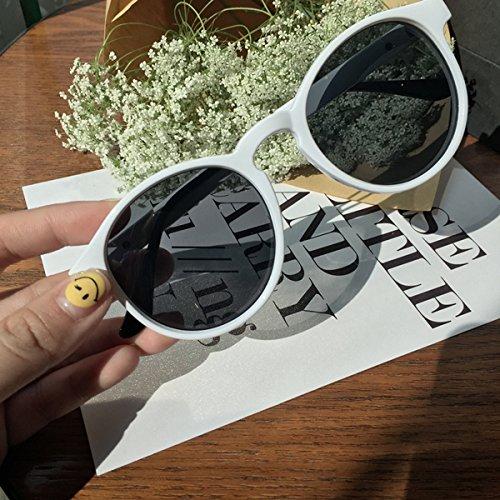 Burenqi@ Sonnenbrille Persönlichkeit runden Rahmen Sonne Spektakel star Produkt, Harajuku wind Sonnenbrille (weiß)