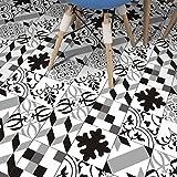 JY ART ZYX Fliesenaufkleber Dekorative Wandgestaltung mit Fliesenaufklebern für Küche und Bad, Deko-Fliesenfolie für Küche u. Geometrische Linien Schwarz und Weiß Dekoration CZ066, 20cm*100cm*5pcs
