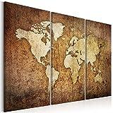 decomonkey Bilder Weltkarte 135x90 cm 3 Teilig Leinwandbilder Bild auf Leinwand Vlies Wandbild Kunstdruck Wanddeko Wand Wohnzimmer Wanddekoration Deko Welt Karte Kontinente Landkarte