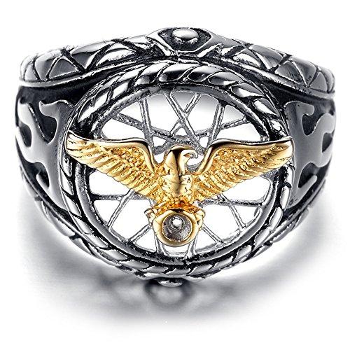 jajafook Jewelry Edelstahl Golden Eagle Hohl Hintergrund Ring für Herren Ringe