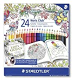 Staedtler Buntstifte Noris Club, erhöhte Bruchfestigkeit, sechskant, Set mit 24 brillanten Farben, ABS-System, kindgerecht nach EN71, PEFC-Holz, Johanna Basford Edition, Made in Germany, 144 NC24