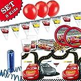 CARS 3 Geburtstag-Deko-Set, 50-teilig zum Kindergeburtstag Jungen und Mädchen und CARS Motto-Party für 8 Kids