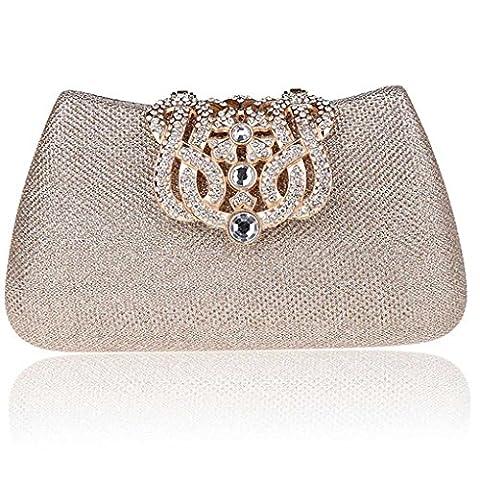 KAXIDY Ladies Elegant Pretty Luxury Crystal Rhinestones Evening Purse Clutch Bag Handbag Cocktail Wedding Clutch Purse Wallet
