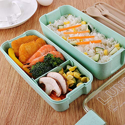 table Container Compartments Schule Picknick Lebensmittel Mikrowelle Bento Box 3-Tier-Besteck ()