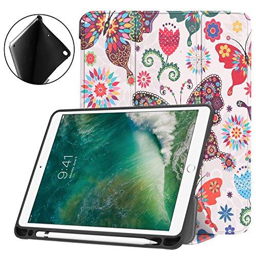 Esories iPad 9.7 2018 Hülle mit Stifthalter, PU Leder Schutzhülle Flip Case Tasche für iPad 9.7 2017 iPad 9.7 2018 iPad Air 2 iPad Air mit Ständerfunktion Auto Schlaf/Wach -