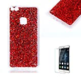 For Huawei P10 Lite Case Cover [with Free Screen Protector], Funyye Fashionable Lovely and Sparkly Designer Shockproof Shock Absorber Soft Rubber Gel TPU Protective Case Cover Skin Shell for Huawei P10 Lite- Red
