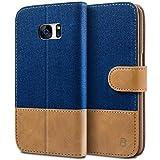Samsung Galaxy S7 Hülle - BEZ® Handyhülle Samsung Galaxy S7, Handytasche Schutzhülle Tasche Flip Case [Stoff Bezug und PU leder] mit Kreditkartenhaltern, Standfunktion - Blau