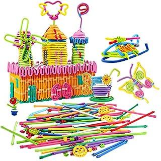 Jeux de construction montessori matériel Peradix Jouets pour enfants apprentissage blocs de construction Artisanat Kit Enfants Plug Doux Flexible Twistable Coloré Verrouillé Bâtons BRICOLAGE(111pcs)
