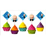 Boss Baby 6th Birthday Cup Cake Topper Set of 20 Pieces / Boss Baby Sixth Birthday Party Supplies / Boss Baby Birthday…