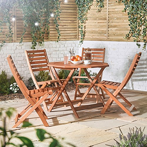 VonHaus 4 Seater Wooden Dining Set - Rustic Octagonal Table and 4 Chair Garden Set - Outdoor Furniture 5 Piece Set Made from 100% Hardwood