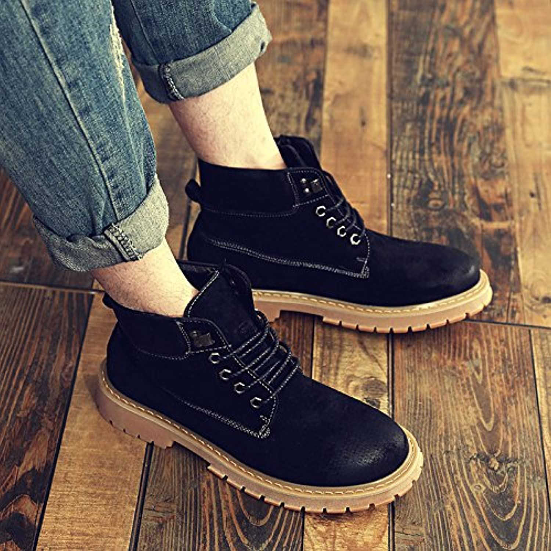 HL-PYL-Botas, Martin botas, zapatos de altura hombres, lijado y lijado sobre antiguos y Ocio amarillo,40,negro  -