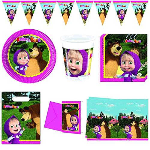 56-tlg. Mascha und der Bär Kindergeburtstag Deko Set Party Teller Bären-teller