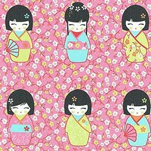 Tissu de coton imprimé | poupées japonaises 'Kokeshi' - bleu turquoise, anis, carotte et rot (tissu rose) | Largeur: 155 cm (1 mètre)