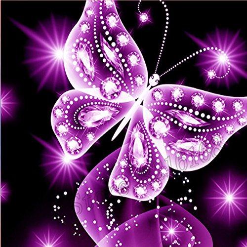 Pink Butterfly 5D Diamant Malen nach Zahlen Full-Bohrer quadratisch Stickerei Kreuzstich DIY Art Craft Home Wand Decor (25x 25cm)