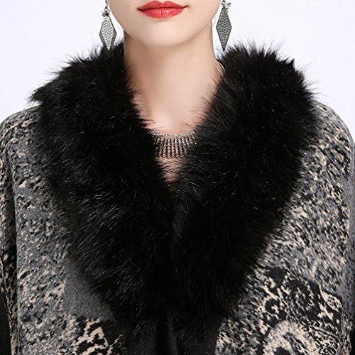 YouPue Femme Châle Manteau Fausse Fourrure Collier Manteaux Poncho Cape Cardigan en Tricot Pardessus Comme limage