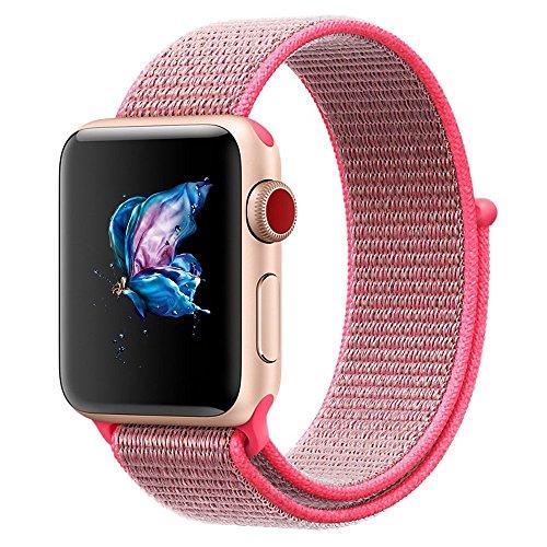 Bossy Apple Watch Armband 38mm, Klettverschluss und gewebtes Nylon Sport Ersatz Uhrenarmbänderfür Apple Watch Series 1/2/3, Nike+, Sport, Edition-Hot Pink (Klettverschluss Ersatz-uhrenarmband)
