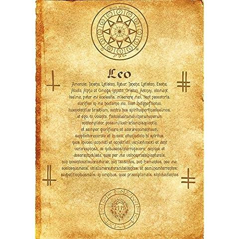 Antica di scorrimento Angelo zodiacale Leone wicca pagani rune Stampa artistica strega Magick