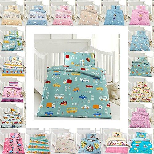 Kinder Bettwäsche 100 x 135 cm + Kissen 40 x 60 cm 100% Microfaser mit Reißverschluss, Erhältlich mit verschiedenen Motiven - Kinderbettwäsche-Set, Babybettwäsche, bedruckter Bettbezug für Jungen & Mädchen - Motors