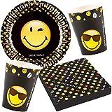 37-teiliges Party-Set * SMILEY-WORLD * für Kindergeburtstag und Motto-Party // mit Teller + Becher + Servietten + Luftballons // Deko Dekoration Kinder Geburtstag Comic Emoji