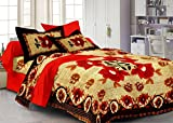 Story@Home 120 TC 100% Cotton Red 1 Double Bedsheet With 2 Pillow Cover