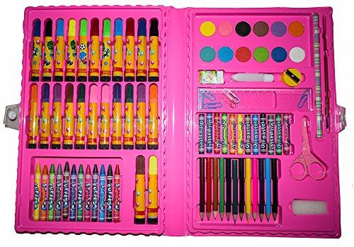 MALSET / BASTELSET ROSA 86 Teile mit Kinder - Jungen / Mädchen für basteln / malen - Filzstifte + Buntstifte + Farbkasten + Schere uvm. 5 4 3 2 1