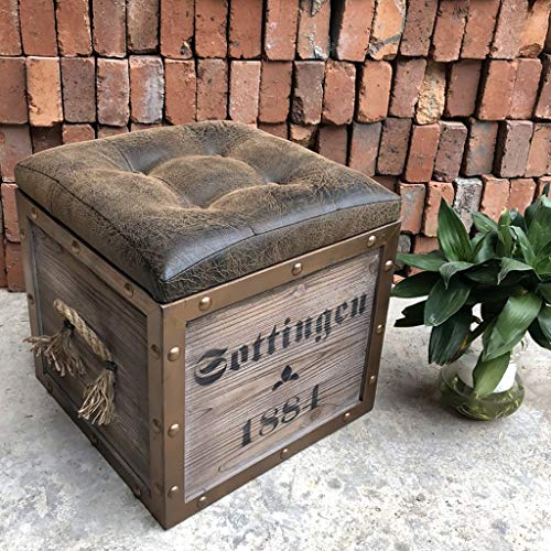 Baúl asiento taburete, de madera, metal y piel acolchada.