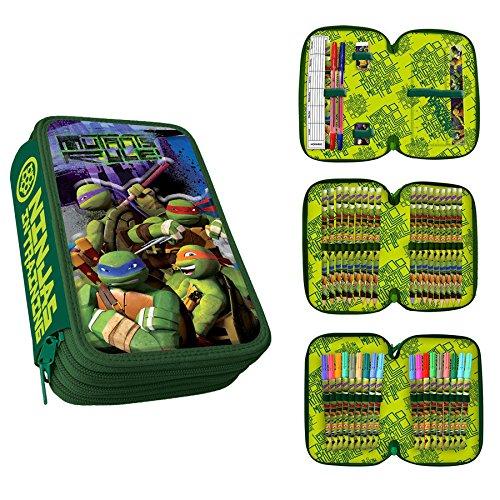 Turtles astuccio 3 zip effetto a rilievo 3d
