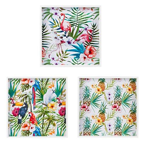 table passion - set 3 plateaux bois carres exotic - 3 tailles