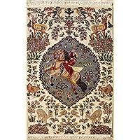 RugsTC 94 x 157 Pak Persan Tapis avec Pile de Soie et Laine - Design Pictorial Hunting Shikargah | 100% Noué à la Main Authentique en Ivoire, Gris, Couleurs Beige | catégorie 91 x 152