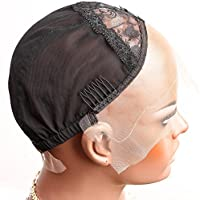 Bella Hair Casquillos Pelucas de Encaje Rosa para Pelucas Fabricación Negro Tamaño Pequeño - con Correas Ajustables, Peines y Red Elástica (Wig Cap)