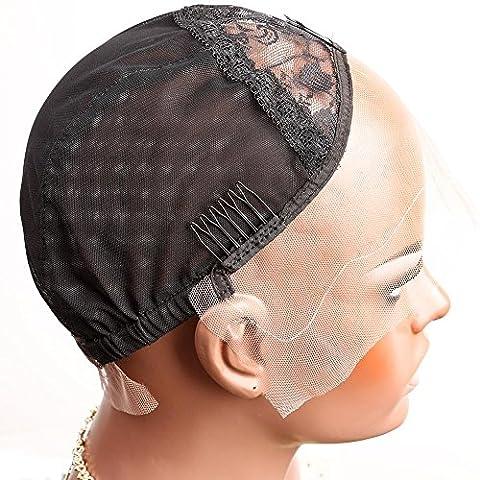 Bella Hair Perruque Bonnet de dentelle Rose Pour Fabrication de Perruques Noir Taille Moyenne - Avec Bretelles Réglables, Peignes et Filet Élastique (Wig Cap)