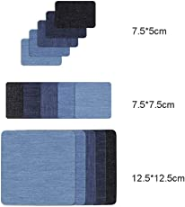 ROSENICE 15pcs Iron On Jeans Patches Denim Elbow Knee Patch No-Sew Shades (5 Assorted Colors)