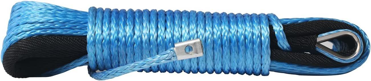 4.8mm x15m 2500kg UHMWPE Corda Base Verricello per Auto con Guaina a Ditale e Colore Blu Comily Plus