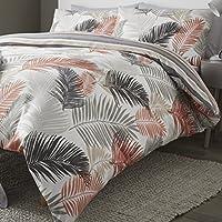 """Fusion """"tropicale grandi foglie viso e strisce Copripiumino Matrimoniale reversibile set, Copper, King"""