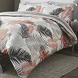 Fusion 'tropicale grandi foglie viso e strisce Copripiumino Matrimoniale reversibile set, Copper, King