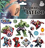 VB© Sheet of Marvel Avengers Assemble - Frozen - Spiderman - Batman - Temporary Tattoos - Passed EU Safety Regulations - Easy to Use - from Very Bazaar (Avengers)