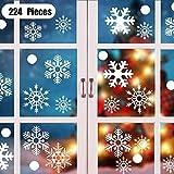 KIPIDA Schneeflocken Fensterdeko, 224 Weihnachten Schneeflocke Fensterdeko Elektrostatische Abnehmbare PVC Aufkleber Glasaufkleber Schneeflocken, Winter Schaufenster Schneeflocken Aufkleber 4 Blatt