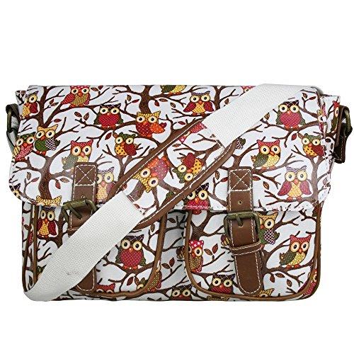 Miss Lulu Damen-Schultertasche, Messenger Bag, Retro-Stil, Eulen, Bäume, Schmetterling, Wachstuch