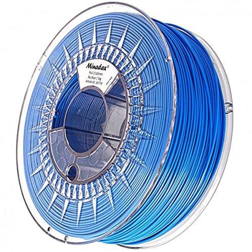 Minadax® 1kg Premium Qualitaet 3mm (2,85mm) PLA-Filament himmelblau fuer 3D-Drucker hergestellt in Europa