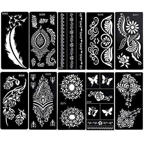 Konsait Plantillas de tatuajes temporales, mandala tatuaje plantilla reutilizable, Pluma Mariposa Flor Joyas Cara festival Cuerpo Arte Brillo Tatuaje Plantilla para adultos Mujeres Niñas, 10 hojas