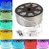 GreenSun 30m LED Lichtband Streifen Strip 60LEDs/m RGB SMD5050 Lichterkette inklusive 24 Tasten Bluetooth Fernbedienung Empfänger Stromkabel wasserdicht