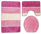 Ilkadim Orion Badgarnitur 3 TLG. Set 50x80 cm Mehrfarbig gestreift, WC Vorleger mit Ausschnitt für Stand-WC (pink rosa beige)